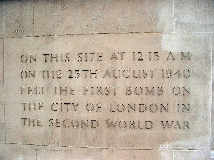 First bomb in the city of London 1940